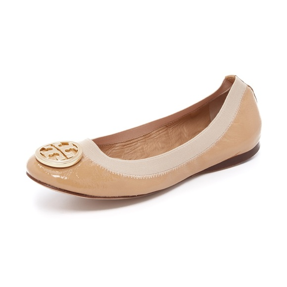 a8434b5cdadfa Tory Burch Caroline Tan Patent Leather Flats. M 5a3ae18372ea888a1a054525